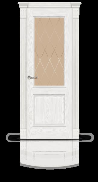 Лувр белый ясень стекло Ромбы бронза