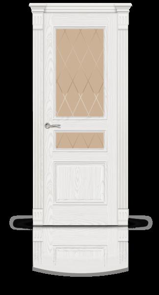Лувр 2 белый ясень стекло Ромбы бронза