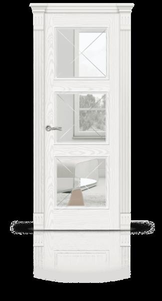 Лувр 3 белый ясень стекло прозрачное Италия