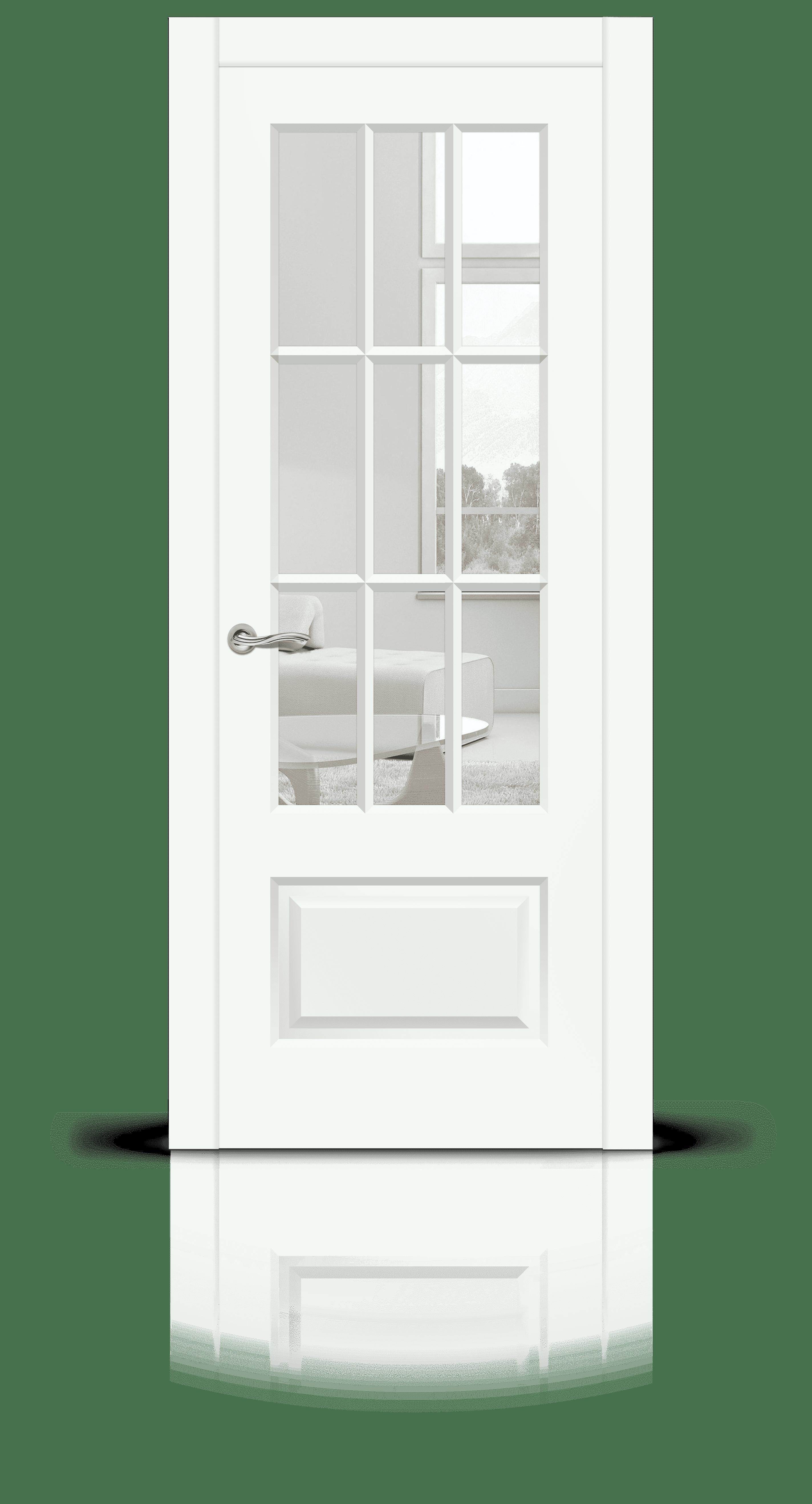 Олимп 2 эмаль RAL 9003 белый стекло прозрачное